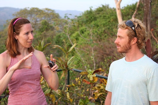 Laura talks surf tech with Al.